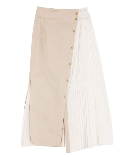 ELENDEEK(エレンディーク)の「シャツコンビプリーツスカート(スカート)」 ライトベージュ
