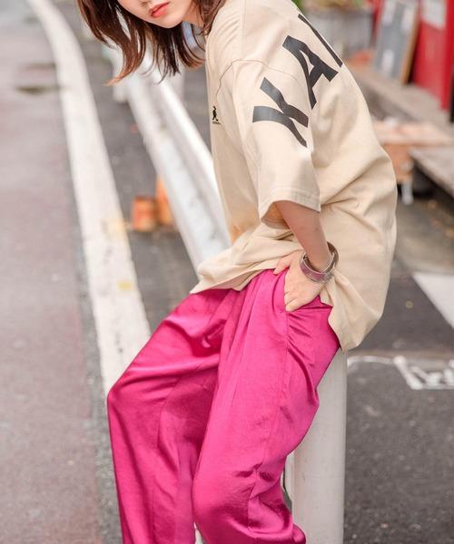 【BASQUE -enthusiastic design-】KANGOL カンゴール BASQUE magenta 別注 ビッグシルエット バックプリントロゴ半袖カットソー