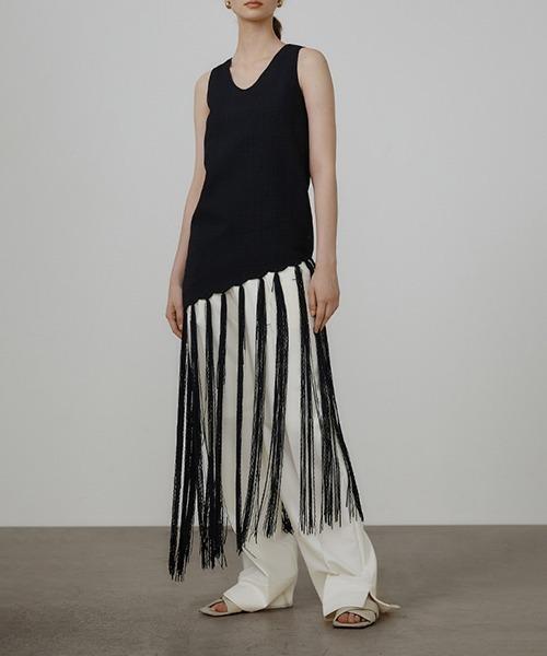 【UNSPOKEN】Slim sleeveless long fringe tops UQ21S020