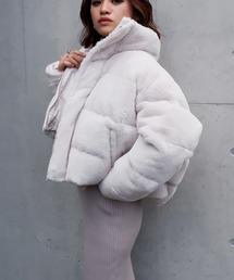 エコファー中綿ショートジャケットオフホワイト