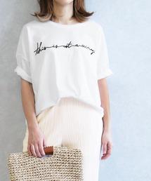 reca(レカ)のゆったりシルエット 筆記体 刺繍ロゴTシャツ(Tシャツ/カットソー)