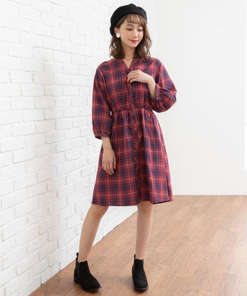 選べる衿デザインマドラス&グレンチェックシャツワンピース