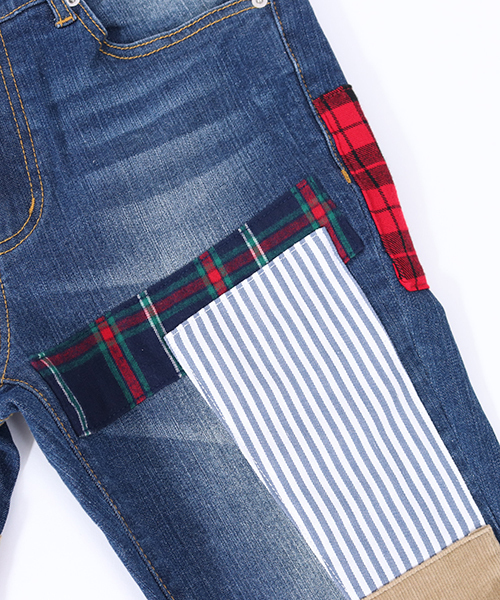 mp6492-Pattern Fabric Repair Stretch Skinny Denim Pants デニムパンツ