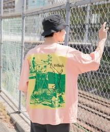 【BASQUE -enthusiastic design-】Mark Gonzales/マークゴンザレス BASQUE magenta 別注 スーパービッグシルエット 半袖Tee(背面プリント)オレンジ系その他3