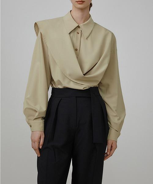 【UNSPOKEN】Asymmetry draped shirt UQ21S024