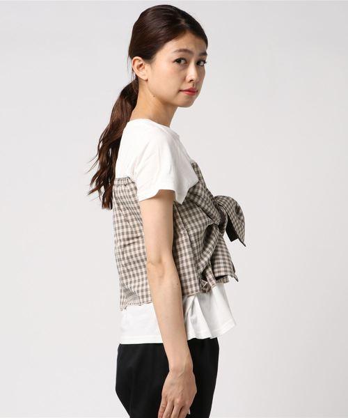ギンガムチェック柄リボンデザインビスチェTシャツ