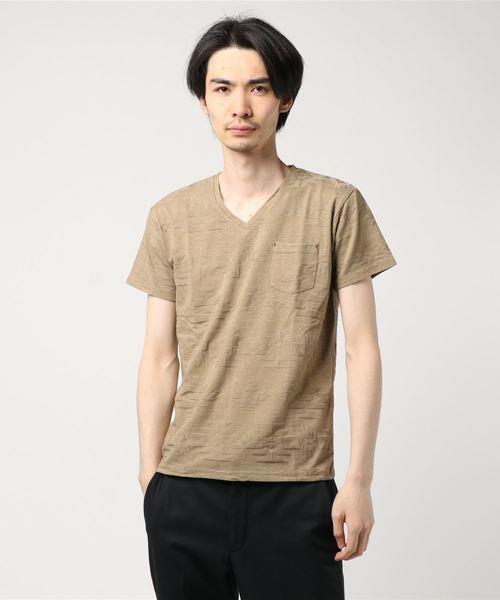 チマヨ柄Vネック半袖ジャガード織Tシャツ