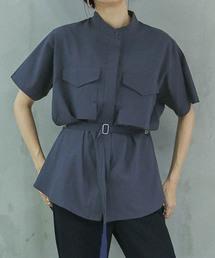 select MOCA(セレクトモカ)のスタンドカラーデザインミリタリーシャツ/ブラウスデザインシャツウエストベルトマーク(シャツ/ブラウス)