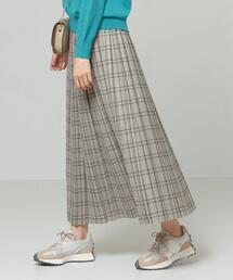 <LE GLAZIC>●チェックプリーツ ロング スカート