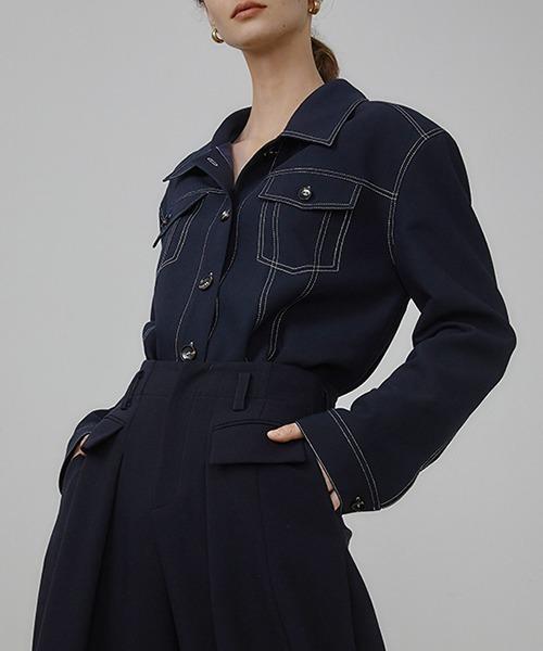 【UNSPOKEN】White stitch decorative design shirt UQ21W024