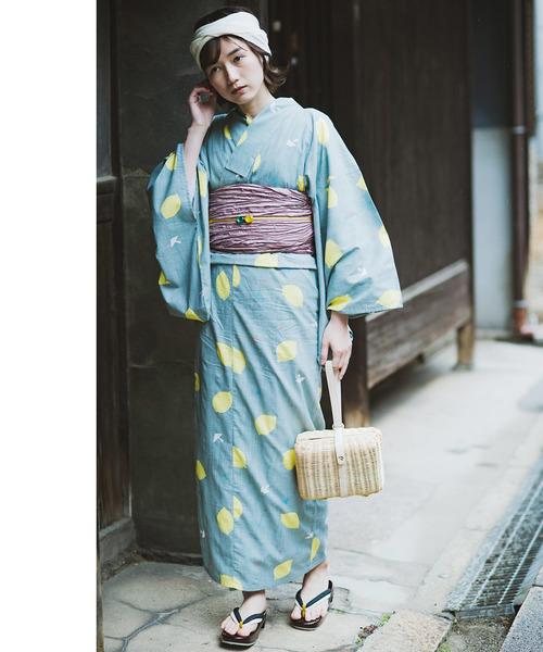 Live in comfort(リブインコンフォート)の「京都Subikiawa食器店さんとつくった レトロな浴衣<レディース>(浴衣)」|ブルーグレー