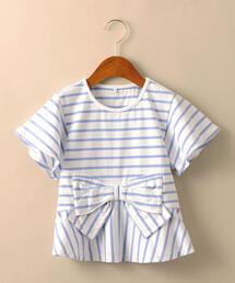 【キッズ】ボーダーウエストリボンフレアTシャツ