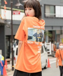 【BASQUE -enthusiastic design-】ビッグシルエット バック フォト転写プリント 半袖 カットソーオレンジ系その他