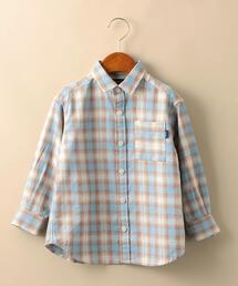 【キッズ】オンブレーチェックBIGシャツ