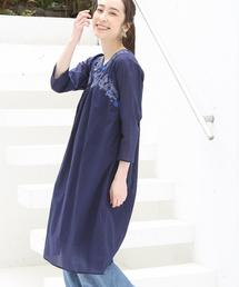 【Market】ヨークフラワー刺繍ワンピース