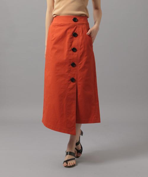 Andemiu(アンデミュウ)の「ボタンスリットAラインスカート838202(スカート)」|オレンジ