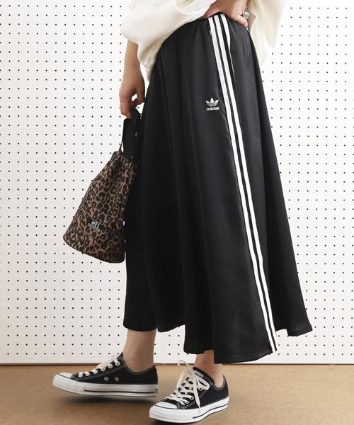 adidas(アディダス)の「ADIDAS/アディダス LONG SATIN SKIRT/ロングサテンスカート(スカート)」 ブラック