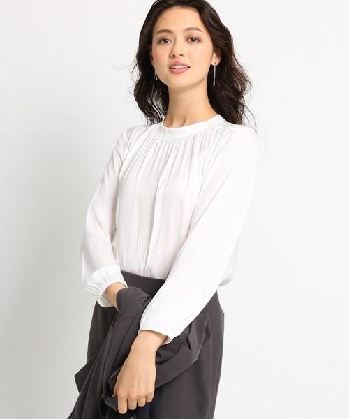 【オンライン限定商品】 [L]【マシンウォッシュ】バンドカラーギャザーサテンシャツ(シャツ/ブラウス)|INDIVI(インディヴィ)のファッション通販, es-life.wear:1081d83b --- wm2018-infos.de