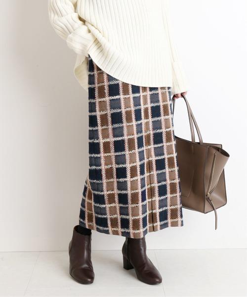 SLOBE IENA(スローブイエナ)の「【 CLASSY. Closet×SLOBE 】チェックタイトミモレスカート◆(スカート)」|ネイビー