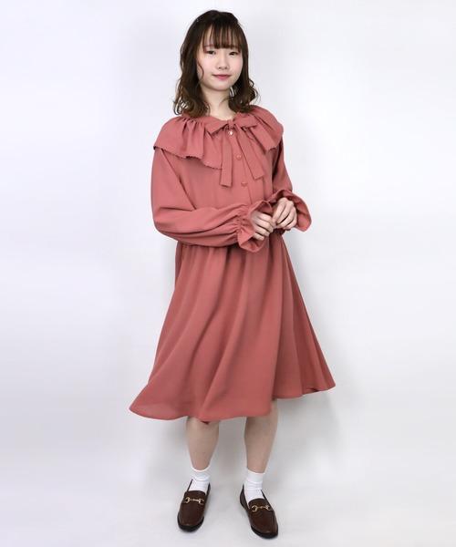 ParAvion + Petit Standard(パラビオンスタンダードプチ)の「ギャザー衿ワンピース(ワンピース)」|ピンク