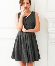 4e1bf70fdf5fb GIRL(ガール)のネックレス付きタックフレアワンピース・パーティードレス(ドレス)
