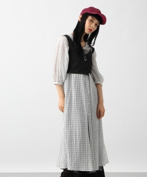 2WAYリボンベルトワンピース5分袖(HARE)
