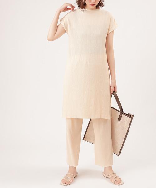 natural couture(ナチュラルクチュール)の「【ZOZO限定】ワッシャーカットロングT&パンツセット(セットアップ)」 アイボリー
