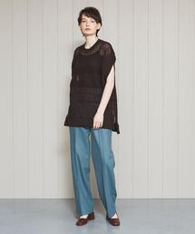 <H>SAXONY WIDE TAPERED PANTS/パンツ
