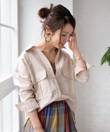 TIENS ecoute(ティアンエクート)のジャケット風麻シャツ(シャツ/ブラウス)