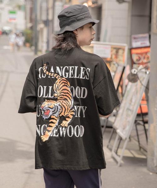 【BASQUE -enthusiastic design-】ビッグシルエット タイガー刺繍 半袖カットソー