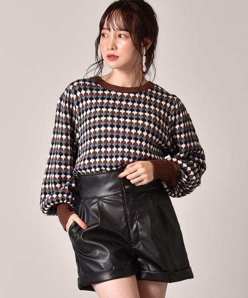 柄編み長袖ニット