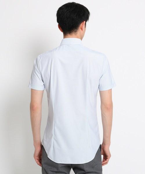 【吸水速乾】トリコットピンストライプ半袖シャツ