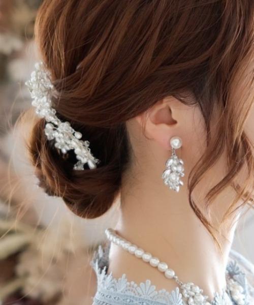 【Cupid Heart】結婚式、二次会、ちょっとしたお食事会におすすめアクセ♪マニョリヤ ビジューパールイヤリング