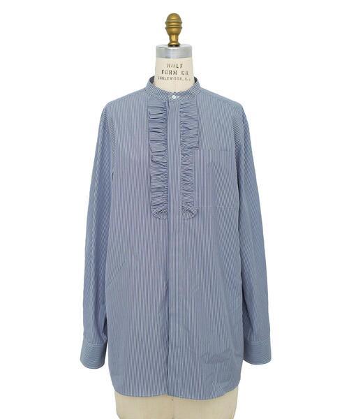 Drawer コットンストライプフリルスタンドカラーシャツ