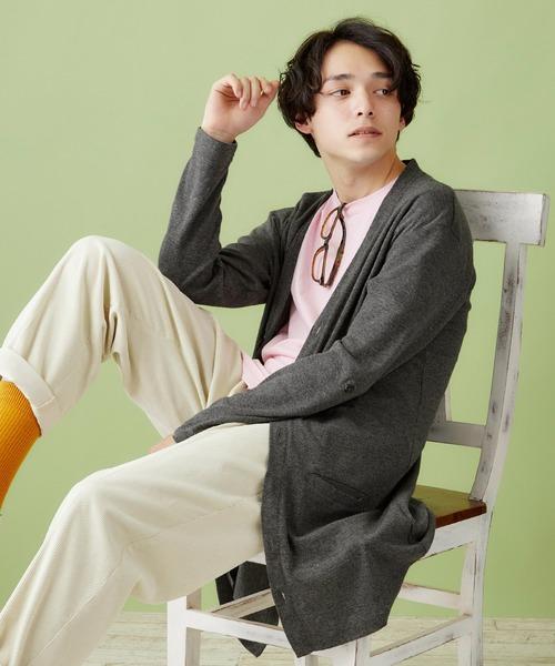 フライス編み多ボタンロング丈カーディガン/オーバーサイズ