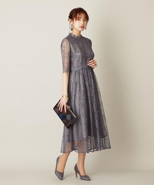 cb7e932953cc6 AIMER(エメ)のラッセルレース7分袖ロングドレス(ドレス)