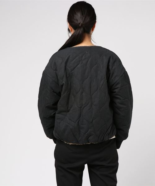 リバーシブルノーカラーボアジャケットキルティングジャケット