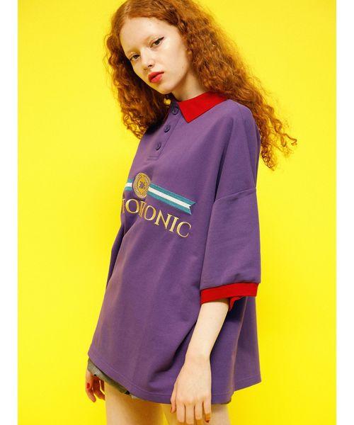 jouetie(ジュエティ)の「BIGポロチュニック(ポロシャツ)」|パープル