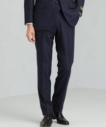 [レダ] REDA カラーストライプ スリム ノープリーツ スラックス スーツパンツ