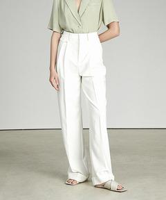 【UNSPOKEN】High-waist white slacks UX21K024