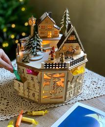 SPICE OF LIFE(スパイス オブ ライフ)のクリスマス エルツLEDメロディウッドオブジェ アドベントカレンダー タウン(インテリアアクセサリー)