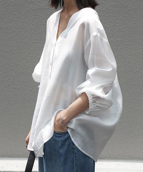 【chuclla】Vカット スキッパー シアーシャツ chw1035