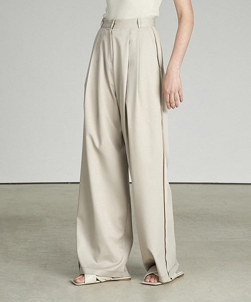 【UNSPOKEN】Side ruffle wide pants UX21K038