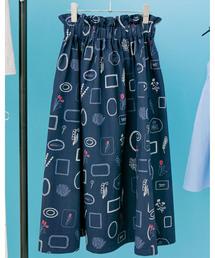 haco!(ハコ)のPBP minne作家 ナガキパーマさんと作ったオーガニックコットンの綿麻総柄プリントスカート by ×minne one+more project(スカート)
