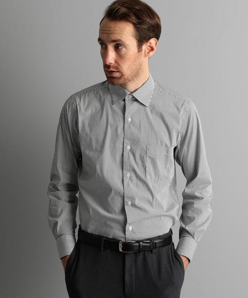 【WORK TRIP OUTFITS】ワイドカラー ロンドンストライプ シャツ <スリムフィット>
