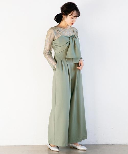 apart by lowrys(アパートバイローリーズ)の「OC*レースリボンサロペット2P 826280(ドレス)」|ライトグリーン