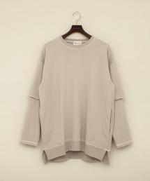 ビッグシルエット杉綾裏毛レイヤードステッチデザインプルオーバースウェット(EMMA CLOTHES)グレイッシュベージュ