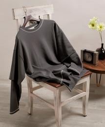 ビッグシルエット杉綾裏毛レイヤードステッチデザインプルオーバースウェット(EMMA CLOTHES)ダークグレー
