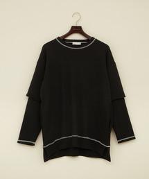ビッグシルエット杉綾裏毛レイヤードステッチデザインプルオーバースウェット(EMMA CLOTHES)ブラック