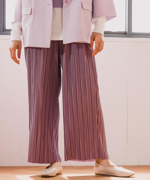 niko and...(ニコアンド)の「サラサラカットプリーツパンツ(その他パンツ)」 ピンク